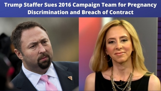 A.J. Delgado has filed a pregnancy discrimination and breach of contract lawsuit in Manhattan Federal Court on Monday December 23, 2019 against the 2016 Donald Trump Campaign, Sean Spicer, Reince Priebus, and Steve Bannon.