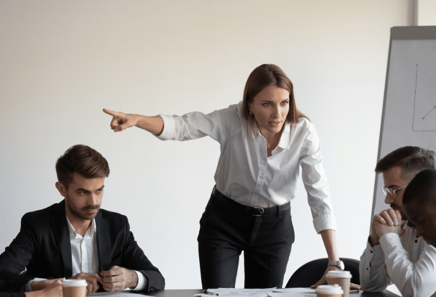 Angry-caucasian-female-boss-firing-sad-stressed-african-male-worker