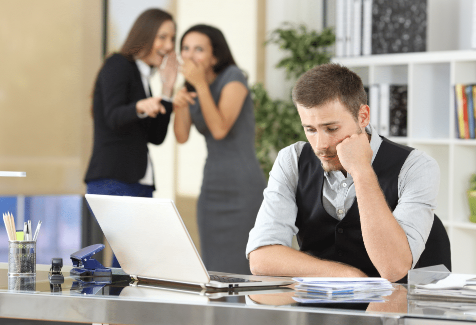 Workers-bullying-a-colleague-at-office
